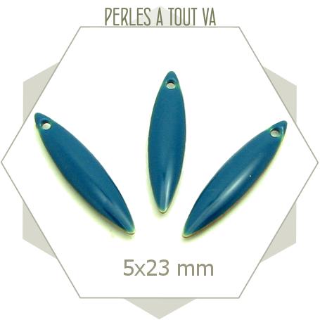 Breloques ovales émaillées bleu canard, sequin 1 trou émaillé 2 faces