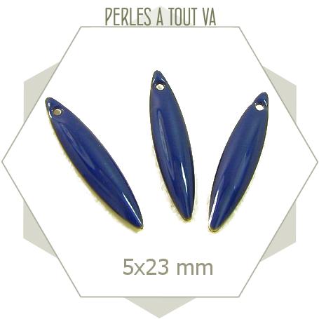 Sequins forme navettes émaillées bleu marine, breloques 1 trou pour bijoux originaux