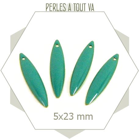 6 sequins forme navette émaillés turquoise, petite breloque en émail pour création de bijoux