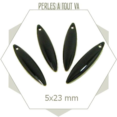 Breloques forme navettes émaillées noires, éléments pour bijoux originaux