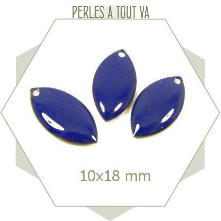 6 navettes émaillées 10x18mm bleu nuit 1 trou