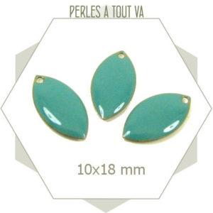 6 navettes émaillées 10x18mm turquoise 1 trou