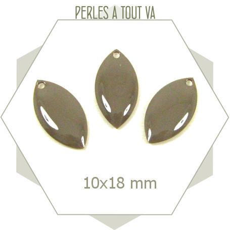 6 navettes émaillées 10x18mm gris taupe 1 trou