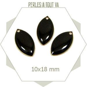 6 navettes émaillées 10x18mm noires 1 trou