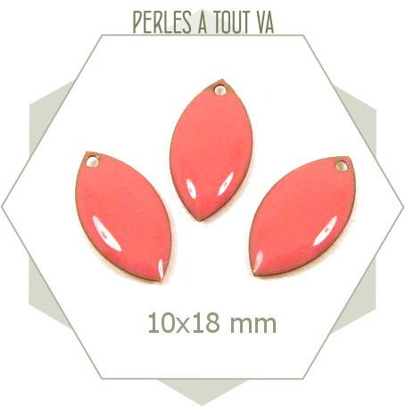 6 navettes émaillées 10x18mm rose corail 1 trou