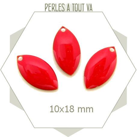 6 navettes émaillées 10x18mm rouge vif 1 trou
