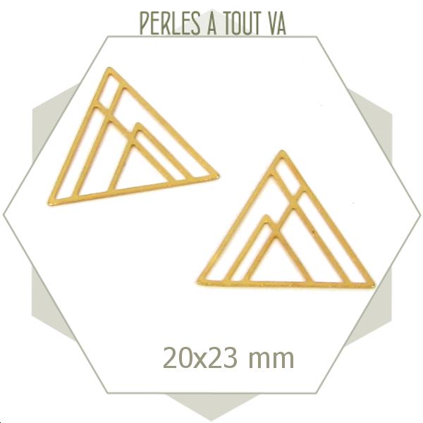 8 breloques triangles géométriques dorés