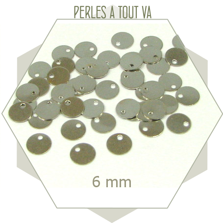 40 minis breloques cercles lisses argent 6mm