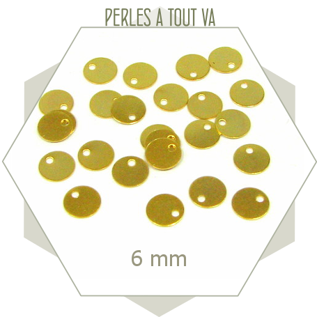 40 minis breloques cercles lisses dorées 6mm