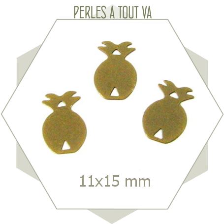 10 breloques motif ananas bronze
