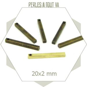 20 breloques barres laiton brut 20 mm