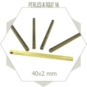 20 breloques barres laiton brut 40 mm