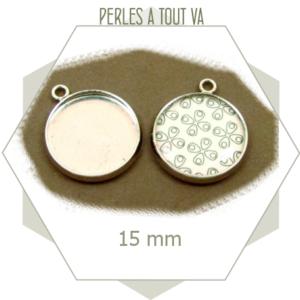 6 médaillons pour cabochon argent - 15 mm