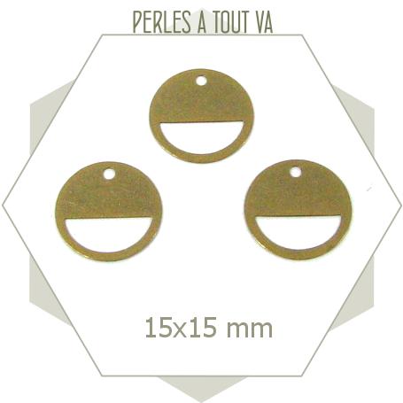 8 breloques cercle ajouré bronze 15 mm
