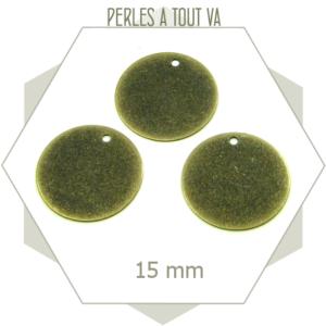 8 breloques cercles lisses bronze - perles à tout-va