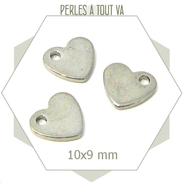 8 breloques coeur ACIER INOX