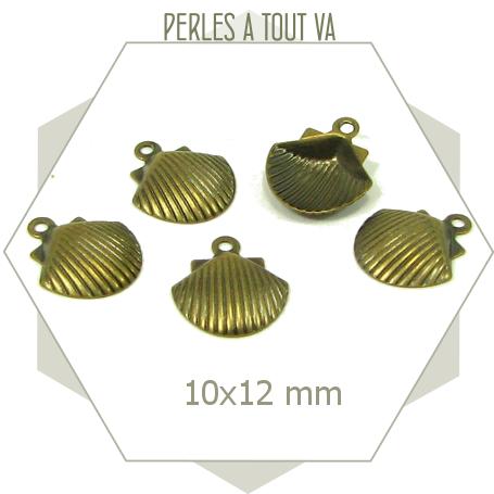 8 breloques coquillage bronze pour bijoux