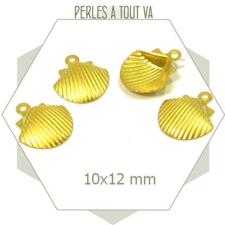 8 breloques coquillages doré mat pour bijoux