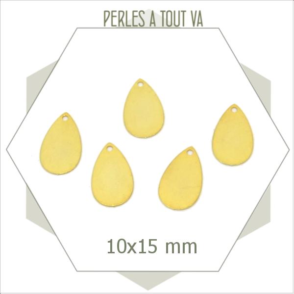 8 breloques gouttes lisses dorées