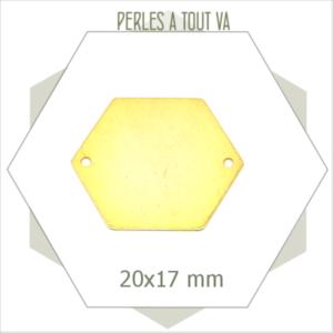 8  grands connecteurs hexagones dorés 2 trous