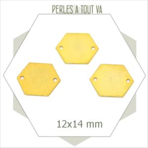 8  petits connecteurs hexagones dorés 2 trous