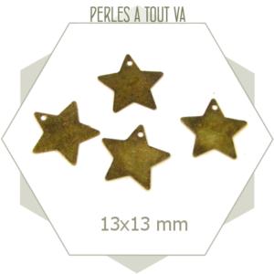 30 breloques étoiles 13mm, pièces couleur bronze pour montages de bijoux