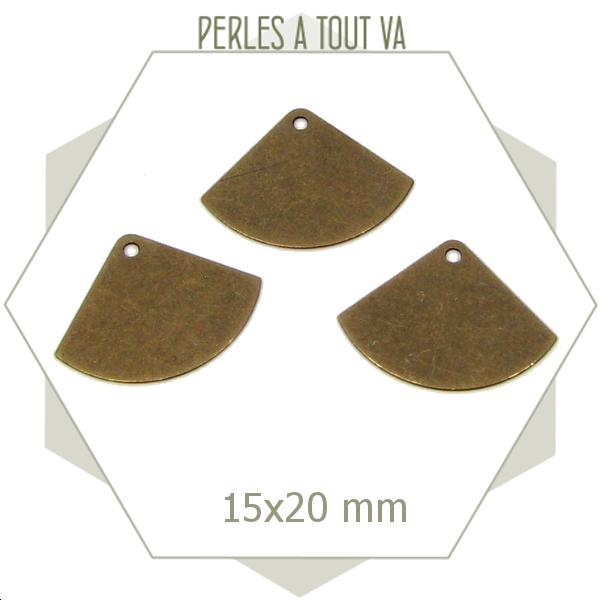 8 breloques éventails lisses bronze