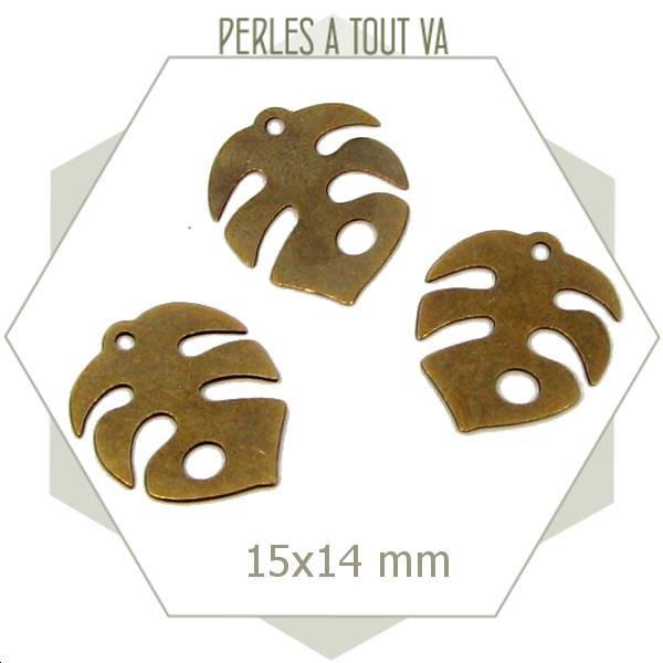 8 breloques feuille de philodendron jungle couleur bronze