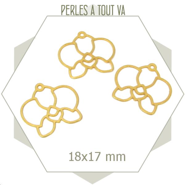 8 breloques fleur orchidées lisses dorées