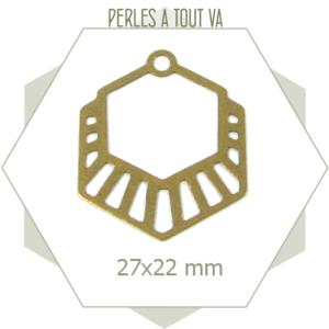 8 breloques hexagones rayés bronze