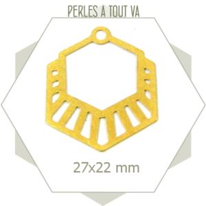 8 breloques hexagones rayés doré mat