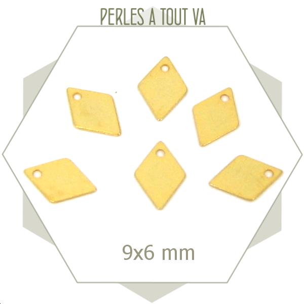20 breloques mini losanges couleur  dorées