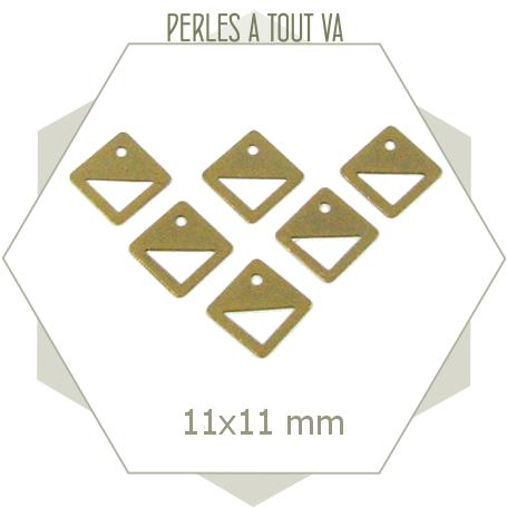 10 petites breloques losanges ajourés bronze