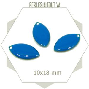 6 breloques navettes émaillées 10x18mm bleu cyan