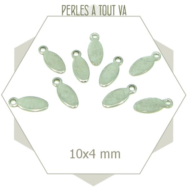 10 breloques navettes ACIER INOX