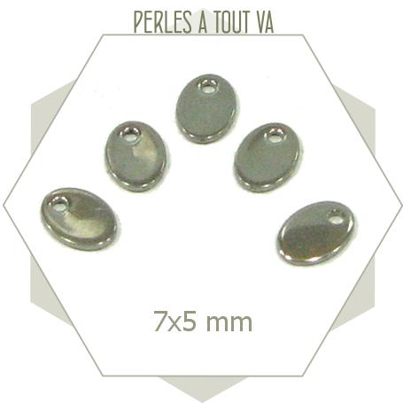 8 breloques ovales ACIER INOX