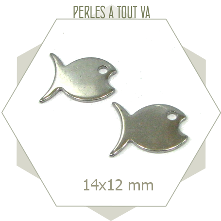 6 breloques poissons ACIER INOX