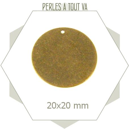 8 breloques cercles lisses bronze, matériel pour créations géométriques originales