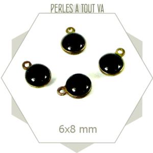 10 minis breloques émaillées rondes noires