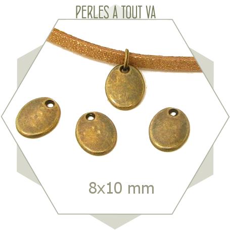 10 breloques ovales couleur bronze pour bijoux
