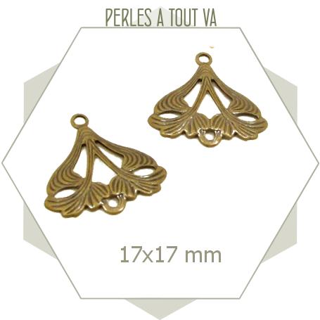 10 breloques rétros bronze connecteurs