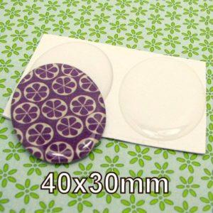 12 cabochons ovales autocollants 30x40 mm résine transparente