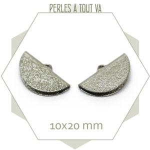 6 embouts demi cercle 20mm argent granité