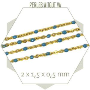 1m de chaîne acier doré et maillons émaillés bleu ciel