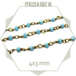 0,5 m de chaîne de perles de jade 4x3 mm bleu ciel, vente chaine