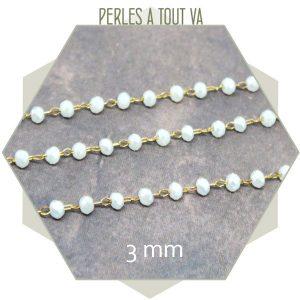 0,5 m de chaîne de perles de verre 3 mm blanches - vente chaine