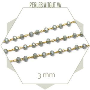 0,5 m de chaîne de perles de verre 3 mm grises - vente chaine