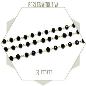 0,5 m de chaîne de perles de verre 3 mm noires - chaine bijou