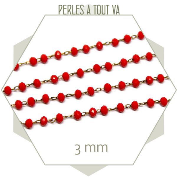 0,5 m de chaîne de perles de verre 3 mm rouges - vente chaine