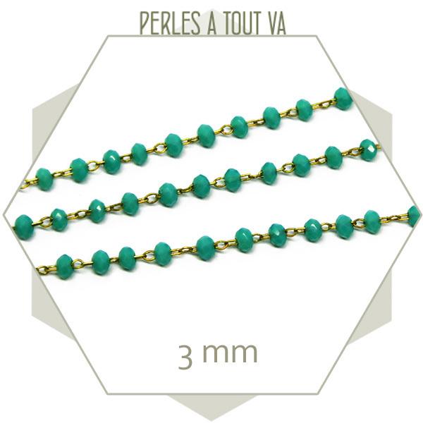 0,5 m de chaîne de perles de verre 3 mm turquoise - vente chaine